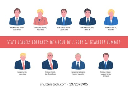 45th 2019 Biarritz summit hand drawn vector illustration. State leaders portraits set. Group of seven, G7. International government meeting, event. Political organization.