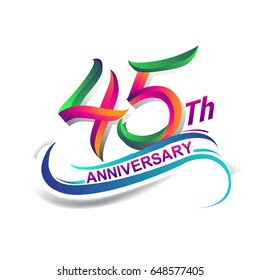 45th anniversary celebration logotype green and red colored. forty five years birthday logo on white background.