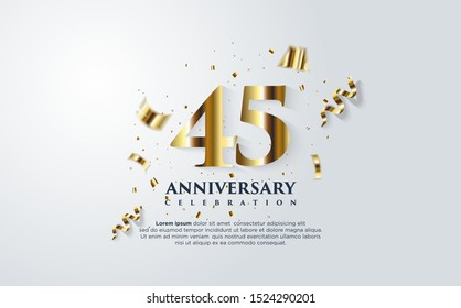 45th anniversary celebration vector background. by using three colors in the design between white, gold and black. vectors can be edited easily according to their needs and desires.