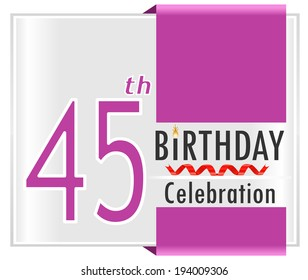 45th Birthday 45 Year Celebration Card With Vibrant Colors And Ribbon
