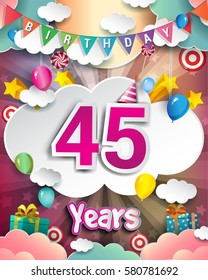 45th Birthday Celebration Greeting Card Design With Clouds And Balloons Vector Elements For The