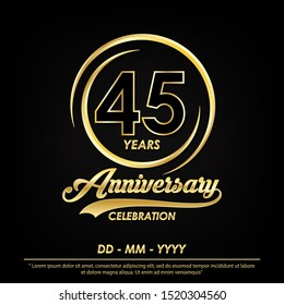 45th years anniversary celebration emblem. anniversary logo with elegance of golden ring on black background, vector illustration template design for celebration greeting card and invitation card