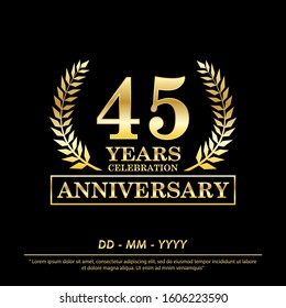 45th years anniversary celebration emblem. anniversary elegance golden awards logo isolated on black background, vector illustration template design for web, celebration greeting and  invitation card