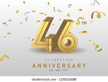 46 Anniversary gold numbers with golden confetti. Celebration 46th anniversary event party template.