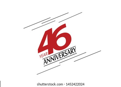 46 anniversary, minimalist logo, greeting card. Birthday invitation. 46 year sign. Red space vector illustration on white background - Vector