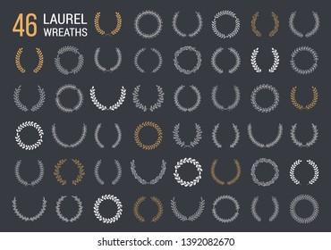 46 Hand drawn laurel wreaths on dark background, vector eps10 illustration
