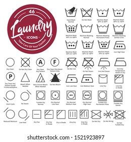 46 Laundry, fabric care icon & symbol set
