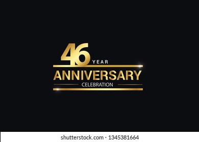46 year anniversary celebration logotype. anniversary logo with golden and Spark light white color isolated on black background, vector design for celebration, invitation card greeting card-Vector