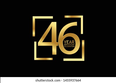 46 year anniversary celebration logotype. anniversary logo with golden and light white color isolated on black background, vector design for celebration, invitation and greeting card-Vector
