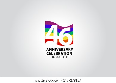 46 year anniversary celebration logotype with white number Emboss Style isolated on LGBT Colorful Flag on white grey background for invitation card, banner or flyer - vector