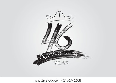 46 year anniversary chalk, ink Marker Pen Style, years, jubilee, greeting card. Birthday invitation sign. Black space vector illustration on white background - Vector