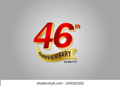 46 year anniversary Golden ribbon celebration logotype. anniversary logo with Red and Gold color isolated on grey background, vector design for celebration, invitation card - vector
