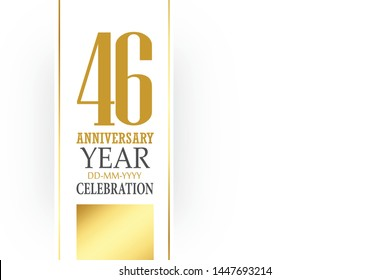 46 year anniversary, minimalist logo, greeting card. Birthday invitation. 46 year sign. Red space vector illustration on white background - Vector
