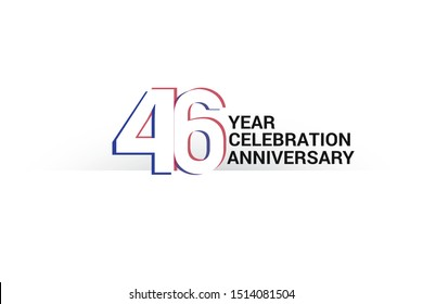 46 year anniversary, minimalist logo years, jubilee, greeting card. invitation. Sign Blue & Red Colors vector illustration on White background - Vector