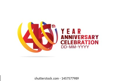 46 Year Anniversary, Red Color Text and Yellow-Orange-Blue Ribbon. Isolated graphic anniversary for banner, greeting card - vector