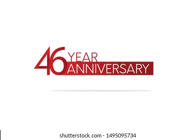 46 Year Anniversary Red Color with White Text, For Invitation, banner, ads, greeting card - Vector