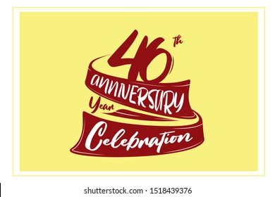 46 year anniversary Red Ribbon, minimalist logo, greeting card. Birthday invitation. 46 year sign. Red space vector illustration on yellow background - Vector