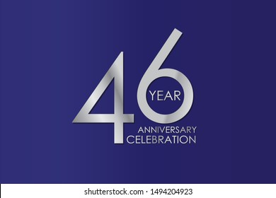 46 Year Anniversary Silver Color on Blue Background, For Invitation, banner, ads, greeting card - Vector