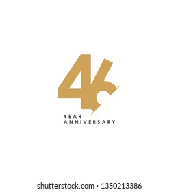 46 Year Anniversary Vector Template Design Illustration