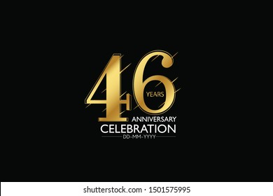 46 year minimalist logo years, jubilee, greeting card. Birthday invitation. Sign Gold space vector illustration on black background - Vector