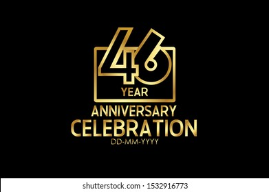 46 years anniversary celebration Block Design logotype. anniversary logo with golden isolated on black background,  vector