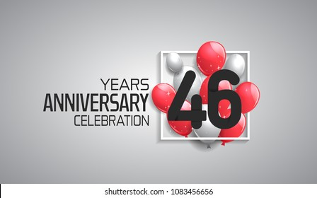 46 years anniversary celebration for company with balloons in square isolated on white background