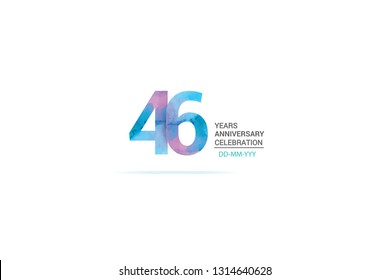 46 years anniversary celebration logotype. anniversary logo with watercolor purple and blue  isolated on white background, vector design for celebration, invitation card, and greeting card-vector