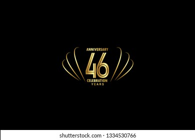 46 years anniversary celebration logotype. anniversary logo with golden and Spark light white color isolated on black background, vector design for celebration, invitation greeting card-Vector