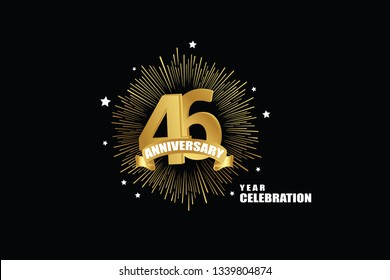 46 years anniversary celebration logotype. anniversary logo with golden isolated on black background, vector design for celebration, invitation greeting card-Vector