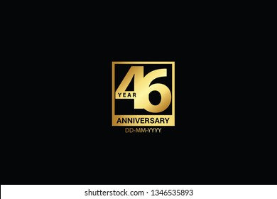 46 years anniversary celebration logotype. anniversary logo with golden and Spark light white color isolated on black background, vector design for celebration, invitation and greeting card-Vector