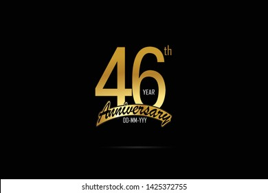 46 years anniversary celebration logotype. anniversary logo with golden Ribbons isolated on black backgrounds, for Birthdays, Invitation, Banner Card - Vector