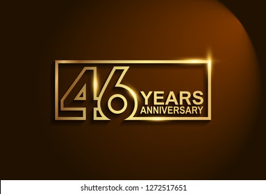 46 years anniversary golden design vector line style for company celebration