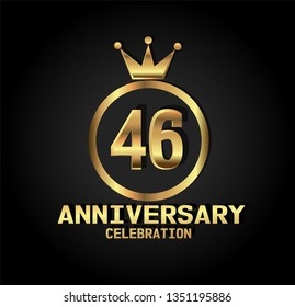 46 years Anniversary with golden font, circle and crown. Simple design with crown on top circle and number in center circle. Elegant, luxury, and simple design. My all design can see in my portofolio