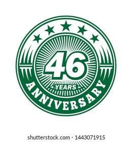46 years anniversary. Anniversary logo design. Vector and illustration.