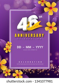 46 years anniversary logo template on golden flower and purple background. 46th celebrating white numbers with gold ribbon vector and bokeh design elements, anniversary invitation template card design