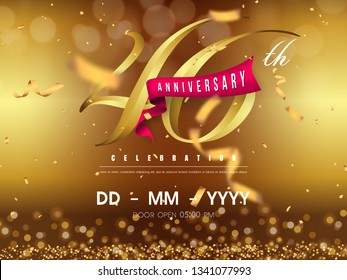 46 years anniversary logo template on gold background. 46th celebrating golden numbers with red ribbon vector and confetti isolated design elements