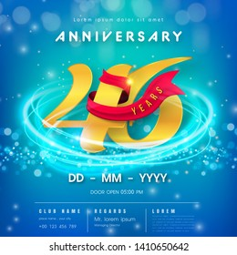46 years anniversary logo template on blue Abstract futuristic space background. 46th modern technology design celebrating numbers with Hi-tech network digital technology concept design elements.