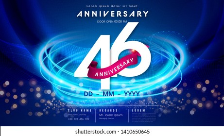 46 years anniversary logo template on dark blue Abstract futuristic space background. 46th modern technology design celebrating numbers with Hi-tech network digital technology concept design elements.