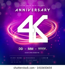 46 years anniversary logo template on purple Abstract futuristic space background. 46th modern technology design celebrating numbers with Hi-tech network digital technology concept design elements.