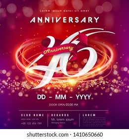 46 years anniversary logo template on red and pink  futuristic space background. 46th modern technology design celebrating numbers with Hi-tech network digital technology concept design elements