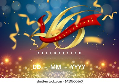 46 years anniversary logo template on gold and blue background. 46th celebrating golden numbers with red ribbon vector and confetti isolated design elements