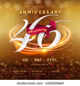 46 years anniversary logo template on golden Abstract futuristic space background. 46th modern technology design celebrating numbers with Hi-tech network digital technology concept design elements.