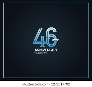 46 years anniversary logotype with cross hatch pattern blue color for celebration