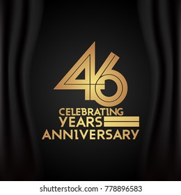 46 Years Anniversary Logotype with  Golden Multi Linear Number Isolated on Black Background