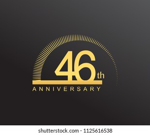 46 years anniversary logotype with single line golden color and golden ring for anniversary celebration