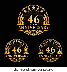 46 years anniversary set. 46th celebration logo collection. Vector and illustration.