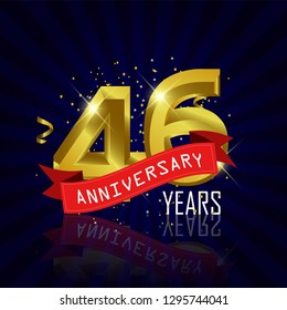 46 years anniversary Vector Template Design with golden color and silver ribbon isolated on blue sunburst background illustration for celebration event - Vector