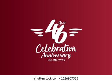 46 years anniversary white colors on red color with triple small stripes on left and right  - vector