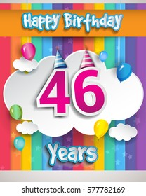 46 Years Birthday Celebration, with balloons and clouds, Colorful Vector design for invitation card and birthday party.
