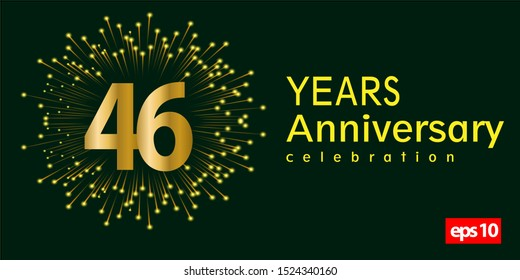 46st year anniversary celebration gold number with fireworks on green background. vector illustration